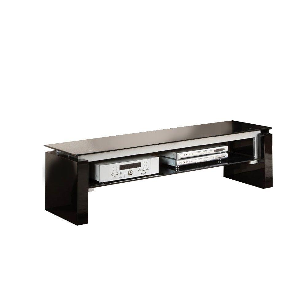Furniture of America Felix TV Console with 8mm Tempered Black Glass Top