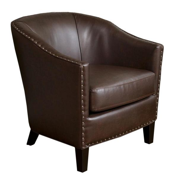 Noble House Austin Brown Bonded Leather Club Chair 14063