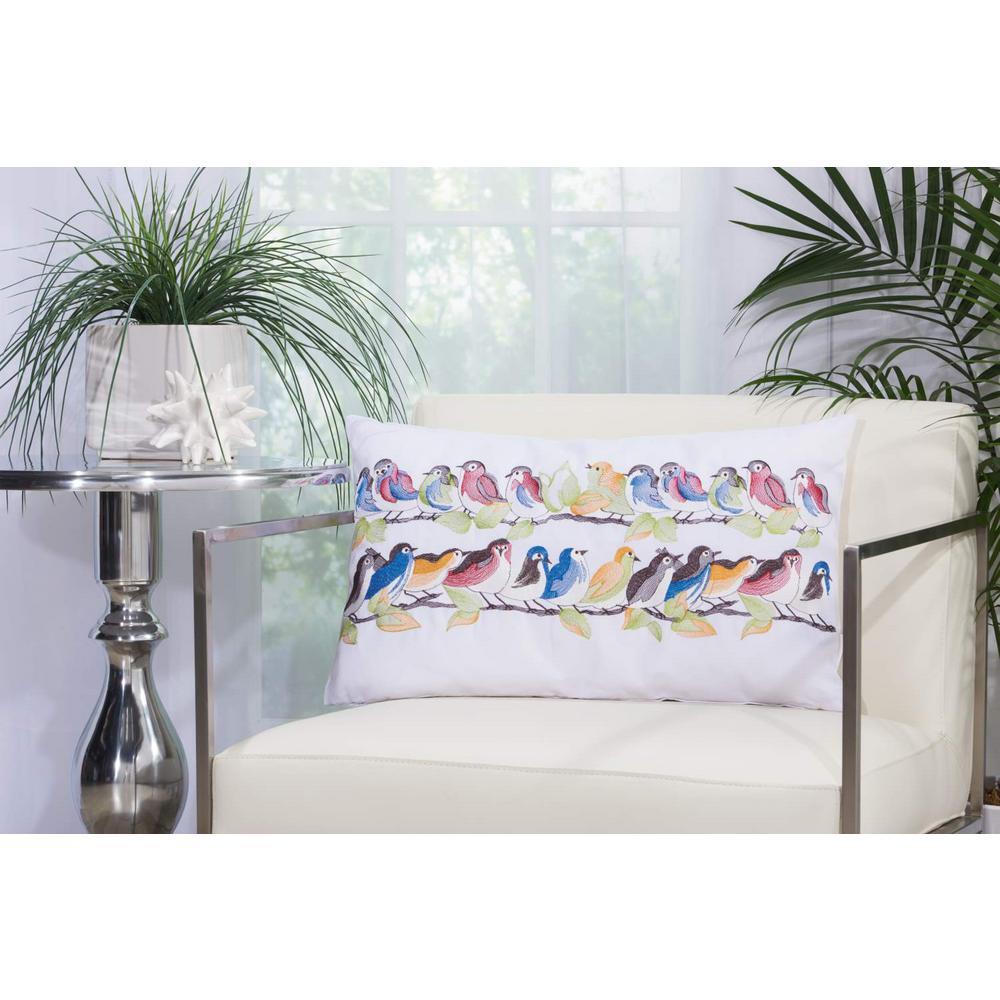 23 Birds On Wire White Polyester Standard Throw Pillow