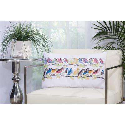 23 Birds On Wire 14 in. x 24 in. White Indoor and Outdoor Pillow