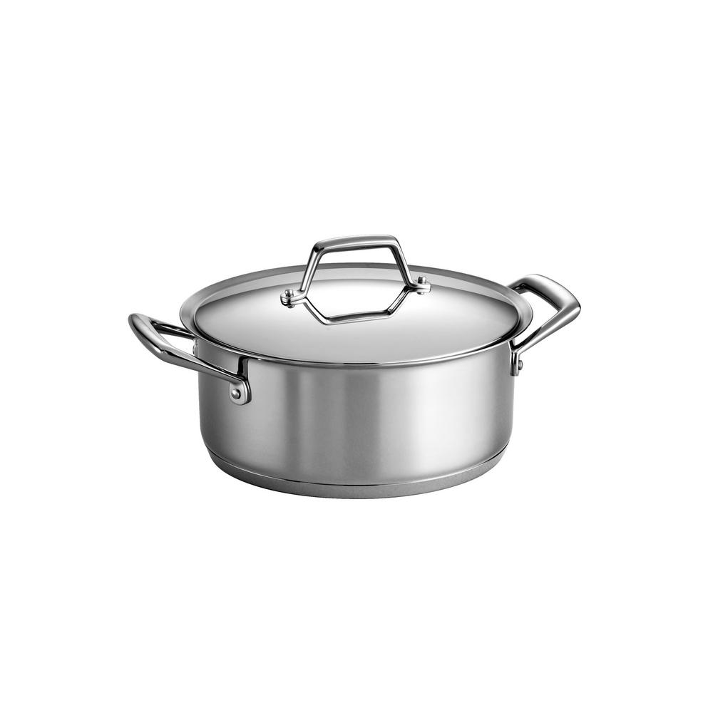 Tramontina Gourmet Prima 5 Qt. Stainless Steel Dutch Oven, Silver/Mirror Polished The Tramontina Gourmet Prima 5 Covered Qt. Dutch Oven features a tri-ply base construction for exceptional performance that distributes heat evenly paired with the impeccable beauty and quality of stainless steel. Its base is impact-bonded with three layers, that consist of 18/10 stainless steel, an aluminum core for conductivity, and magnetic stainless steel, which makes the line perfect for induction-ready cooktops. It adds both beauty and performance to everyday cooking! Part of the Tramontina GOURMET collection, a series of timeless products crafted especially for the cooking enthusiast. Color: Stainless Steel / Mirror Polished.