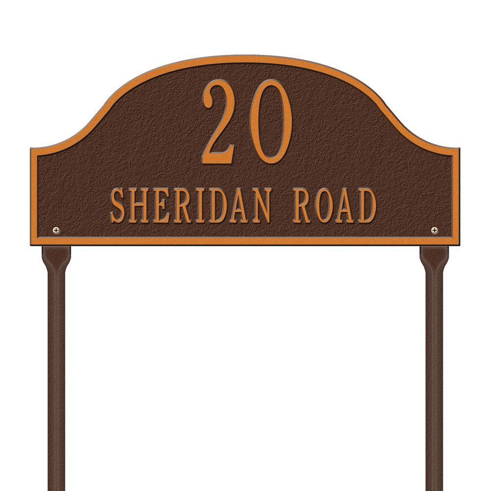 Admiral Standard Arch Antique Copper Lawn Two Line Address Plaque