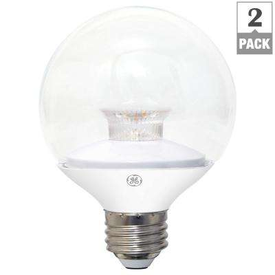 40W Equivalent Soft White (2700K) High Definition G25 Globe Clear Dimmable LED Light Bulb (2-Pack)