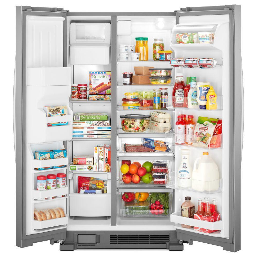 Whirlpool 21 cu  ft  Side by Side Refrigerator in Fingerprint Resistant  Stainless Steel