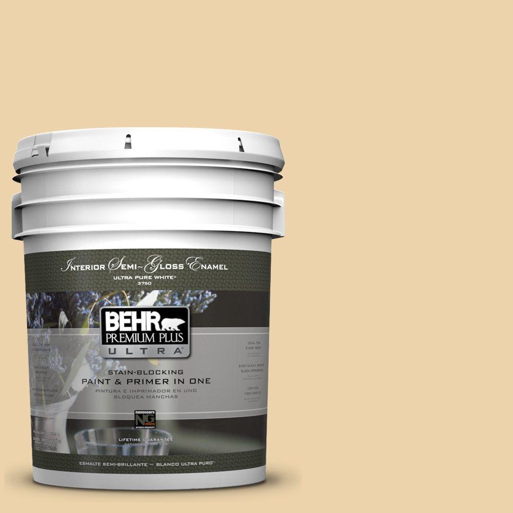 BEHR Premium Plus Ultra 5-gal. #ICC-51 Sweet Marzipan Semi-Gloss Enamel Interior Paint