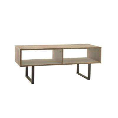 39.5 in W x 15.8 in. D Gray Coffee Table with Decorative Shelf