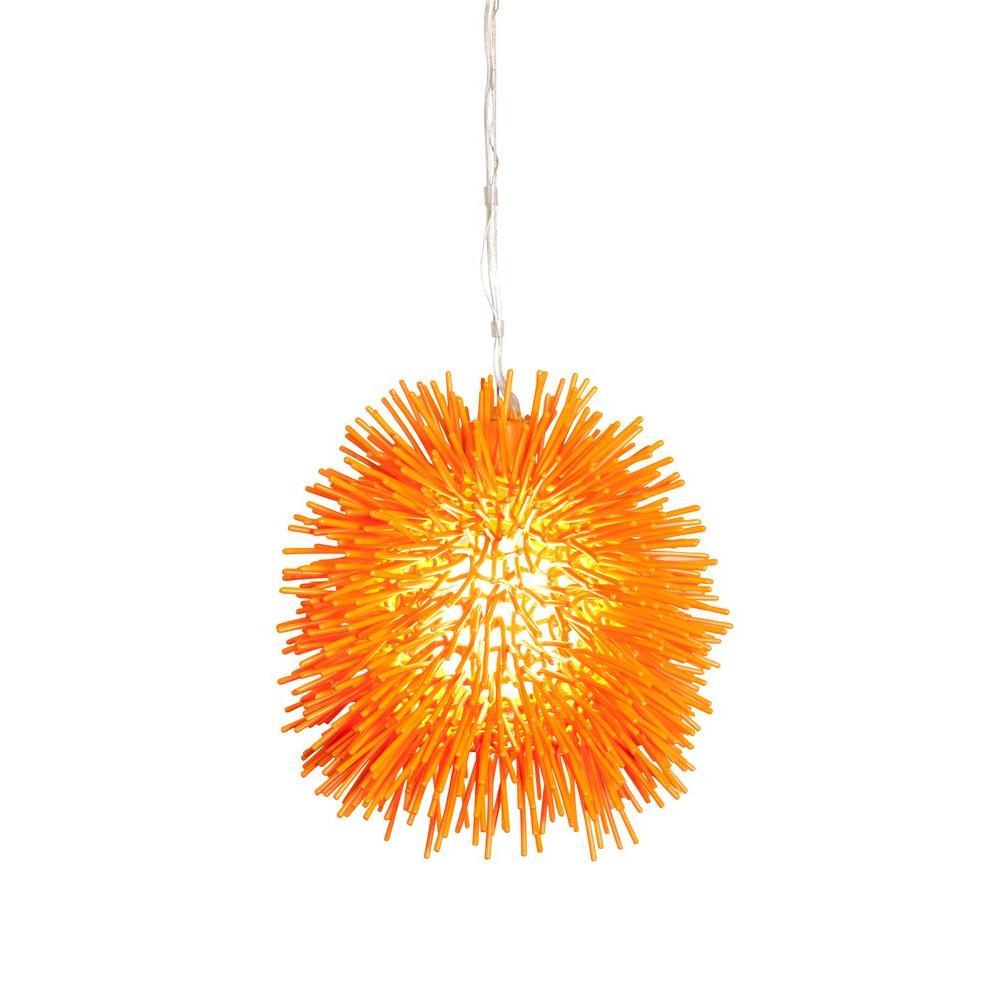 Globe orange pendant lights lighting the home depot urchin 1 light electric pumpkin mini pendant aloadofball Gallery