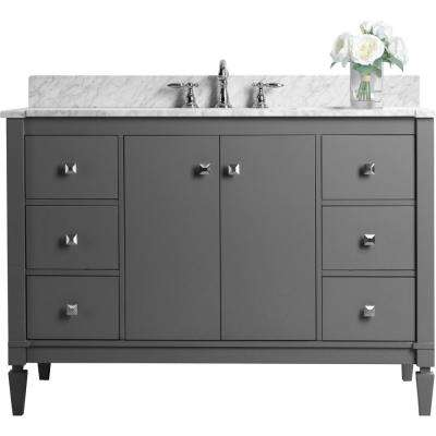 Kayleigh 48 in. W x 22 in. D Vanity in Sapphire Gray with Marble Vanity Top in Carrera White with White Basin