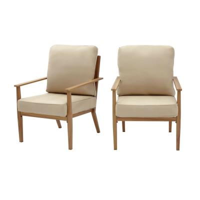 Alderton Brown Steel Outdoor Patio Lounge Chair with Sunbrella Beige Tan Cushions (2-Pack)
