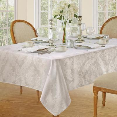 60 in. W x 120 in. L White Elrene Barcelona Damask Fabric Tablecloth