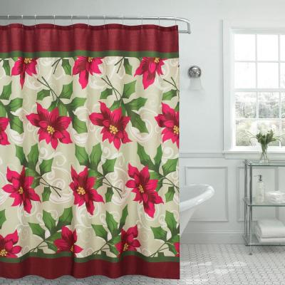 70 in. x 72 in. Poinsettia Textured Shower Curtain