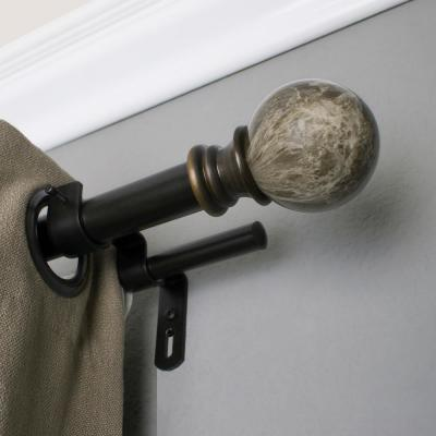 72 in. - 144 in. Double Curtain Rod in Brown with Core Marble Ball Finial