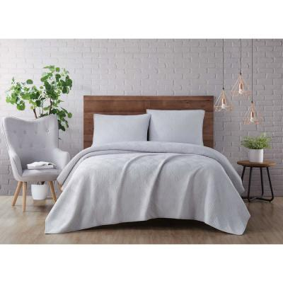 Washed Rayon Basketweave 3-Piece Grey Full/Queen Quilt Set