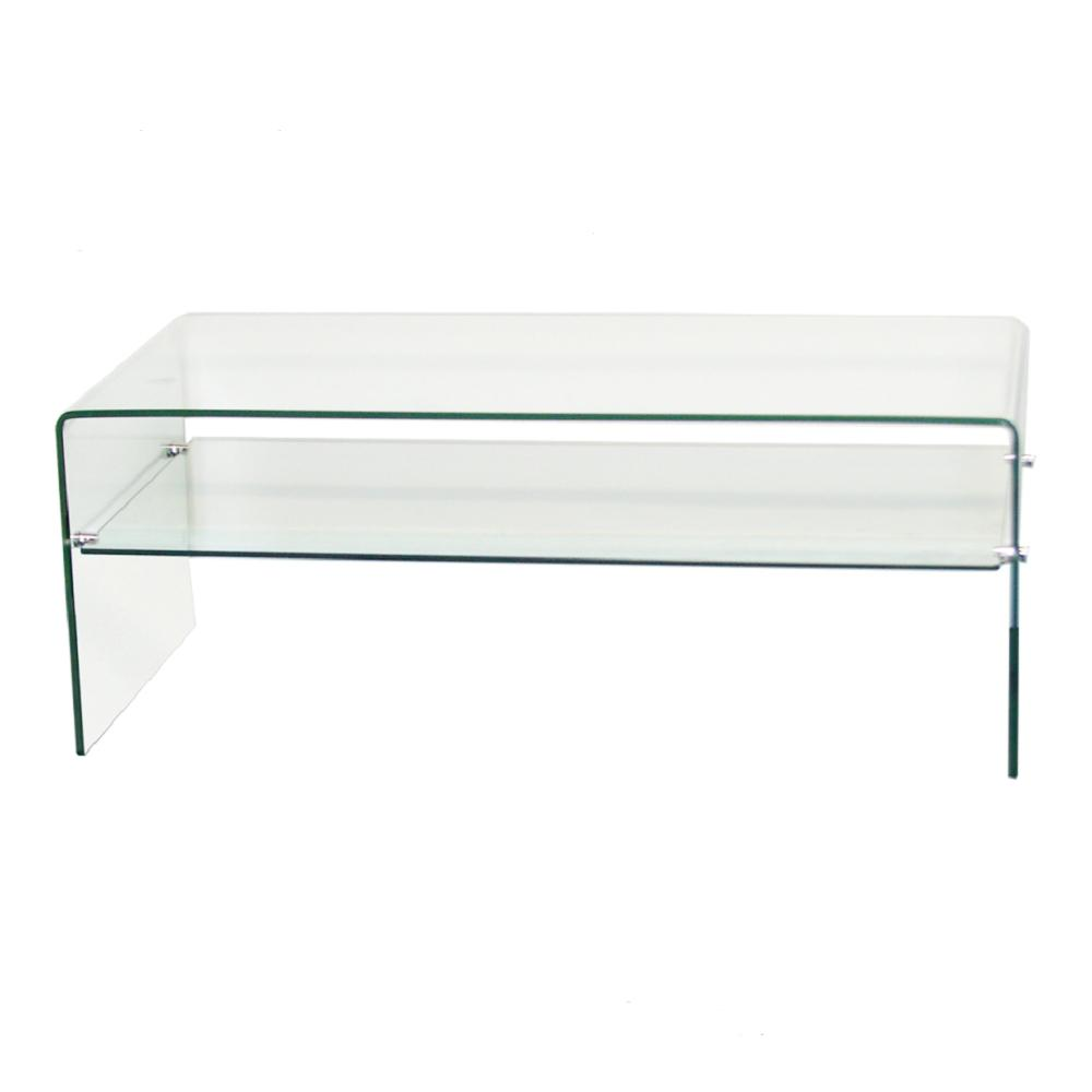 Fab Gl And Mirror 3 8 In Thick Clear Bent Coffee Table With