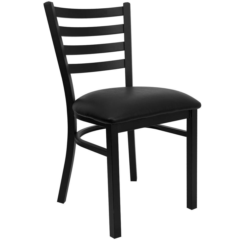 Hercules Series Black Ladder Back Metal Restaurant Chair - Black Vinyl Seat