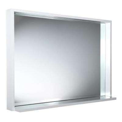 Allier 39 in. W x 25.50 in. H Framed Wall Mirror with Shelf in White