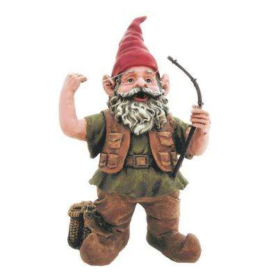 8.5 in. H Fisherman Gnome Holding Fishing Pole Home and Garden Gnome Statue