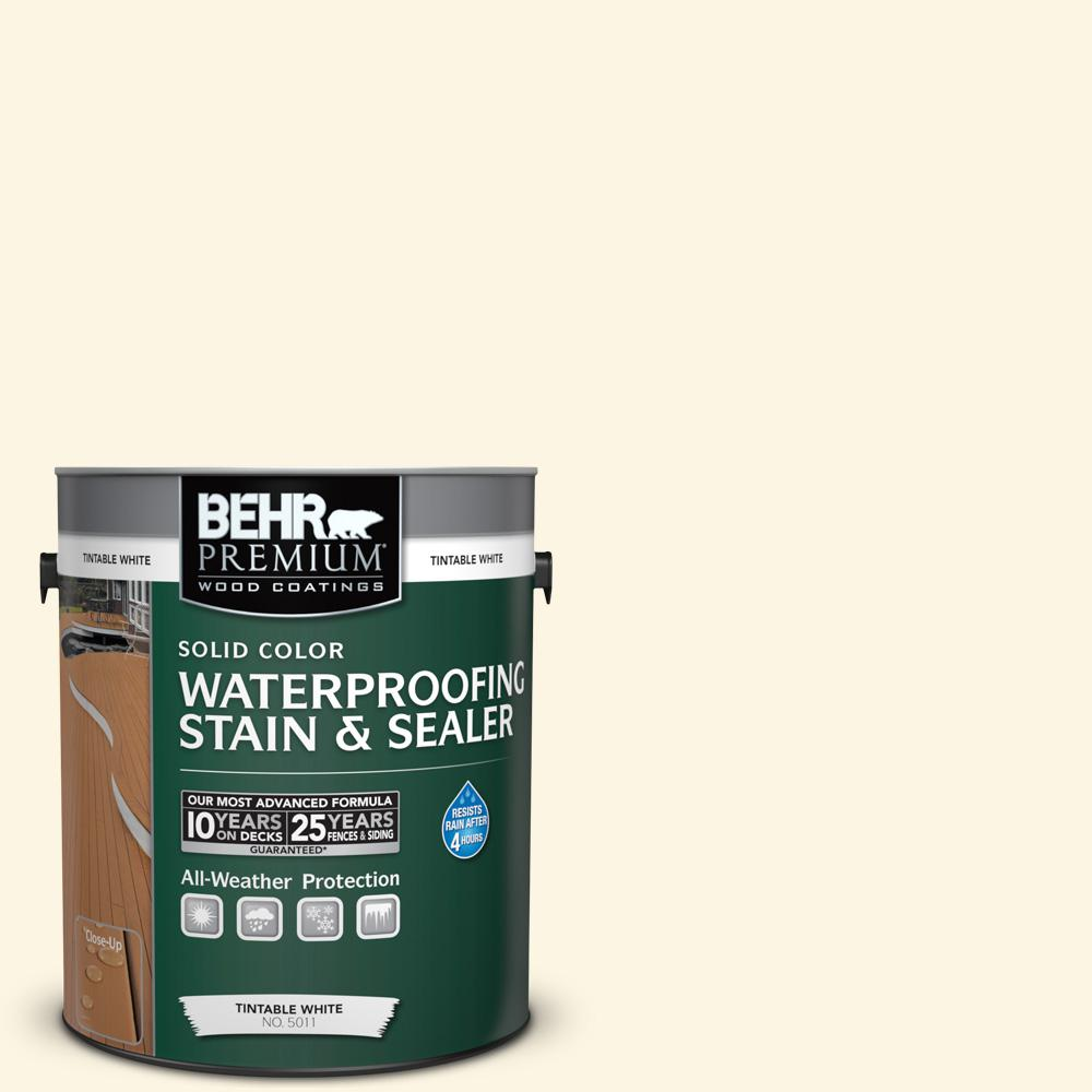 BEHR Premium 1 gal. #P300-1 Lemon White Solid Color Waterproofing Exterior Wood Stain and Sealer