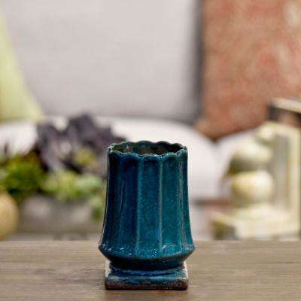 Blue Gloss Distressed Ceramic Decorative Vase