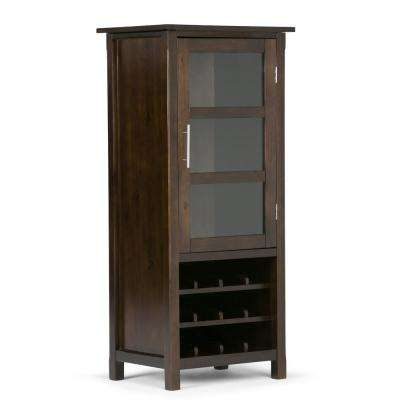 Avalon 12-Bottle Solid Wood 23 in. Wide Contemporary High Storage Wine Rack Cabinet in Rich Tobacco Brown
