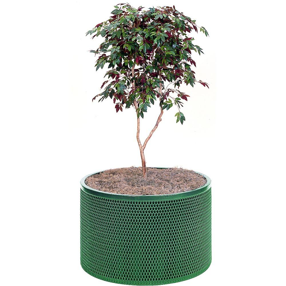 null 30 in. x 30 in. Green Metal Park Planter