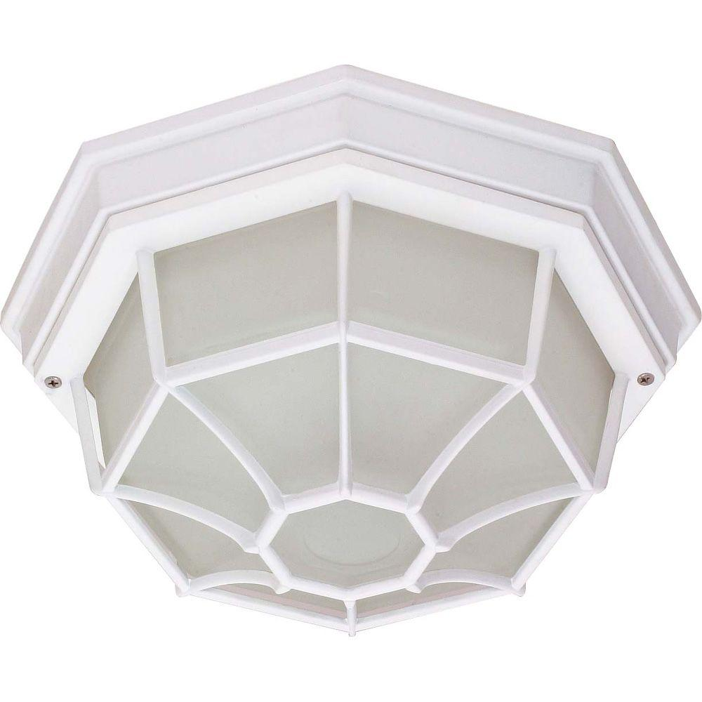 1-Light Outdoor White Ceiling Spider Cage Fixture with Die Cast with