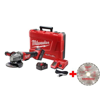 M18 FUEL 18-Volt Lithium-Ion Brushless 4-1/2 in. /5 in. Grinder, Paddle Switch No-Lock Kit with 4-1/2 in. Diamond Blade