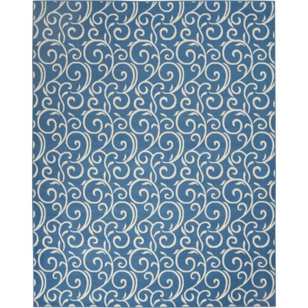 Grafix Blue Abstract Vines Botanical 8 ft. x 10 ft. Area Rug