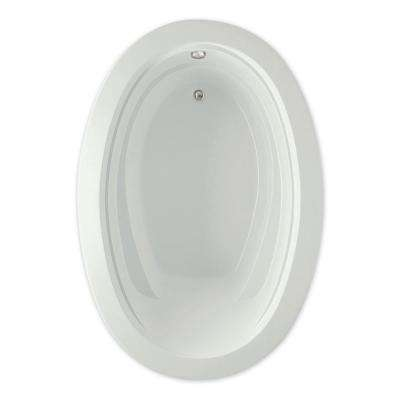 Belmont I 60 in. Acrylic Reversible Drain Oval Drop-In Soaking Bathtub in Biscuit