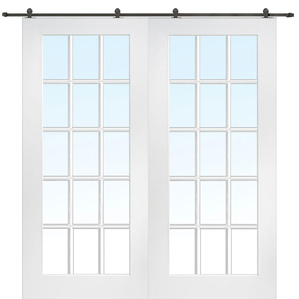 Mmi Door 72 In X 80 Primed Composite Clear Gl 15 Lite Double Sliding Barn With Matte Black Hardware Kit