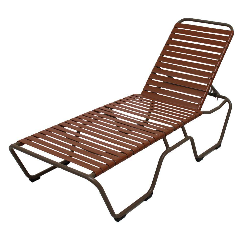 Marco Island Brownstone Commercial Grade Aluminum Patio Chaise Lounge with Saddle Vinyl Straps (2-Pack)