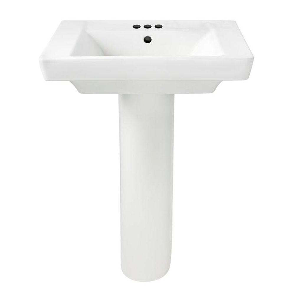 Boulevard Floor Mounted Pedestal Combo Bathroom Sink in White
