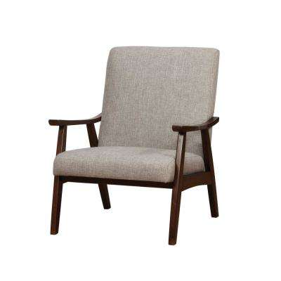 Henly Light Gray Linen Solid Wood Accent Chair