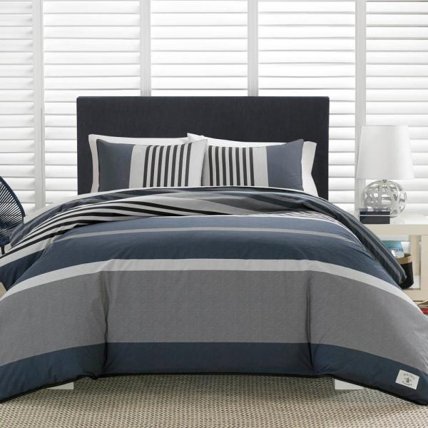 Nautica Rendon 3 Piece Charcoal Gray Striped Cotton Full Queen Comforter Set Ushsa51052092 The Home Depot