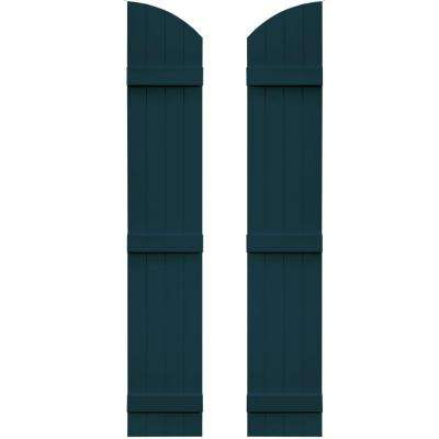 14 in. x 77 in. Board-N-Batten Shutters Pair, 4 Boards Joined with Arch Top #166 Midnight Blue