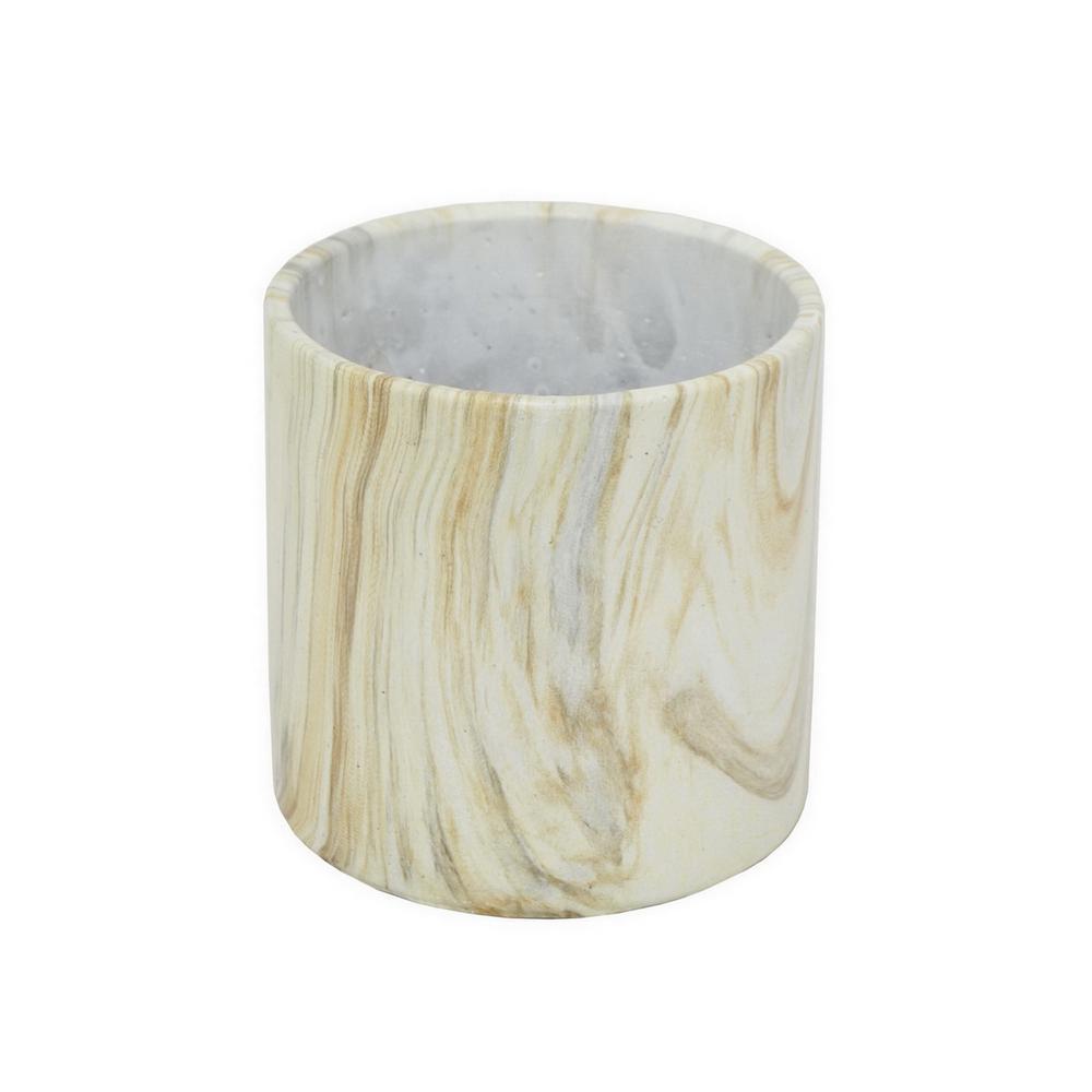 4.75 in. Terra Cotta Marble Look Flower Pot in White