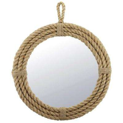 16.5 in. H x 16.5 in. W Round Rope Wrapped Mirror