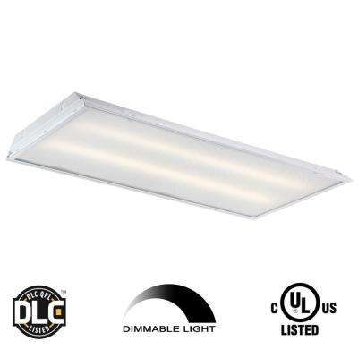 2 ft. x 4 ft. 128-Watt Equivalent White Prismatic Lens Integrated LED Commercial Grid Ceiling Troffer