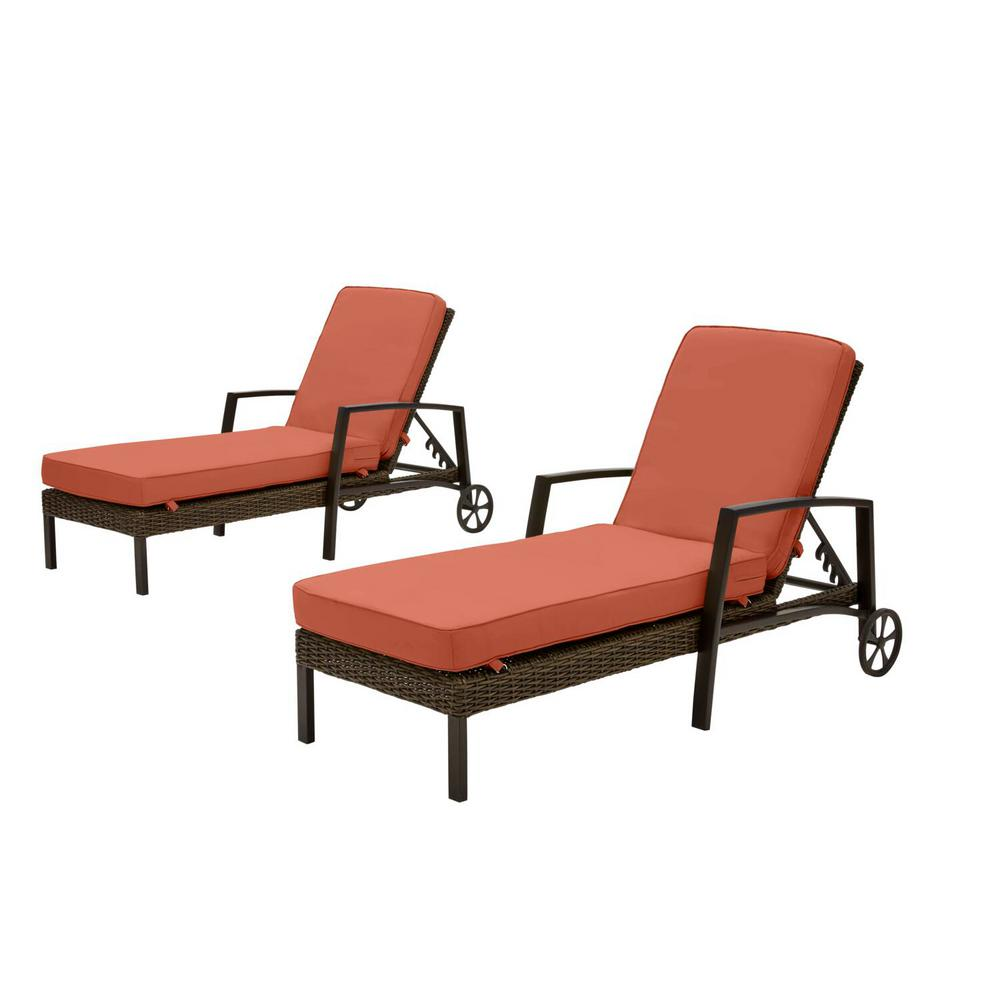 Hampton Bay Whitfield Dark Brown Wicker Outdoor Patio Chaise Lounge with CushionGuard Quarry Red Cushions (2-Pack) was $699.0 now $531.24 (24.0% off)