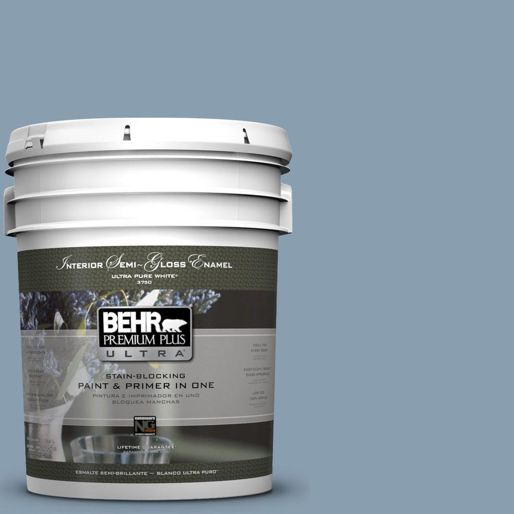 5-gal. #BNC-08 Sonata Blue Semi-Gloss Enamel Interior Paint