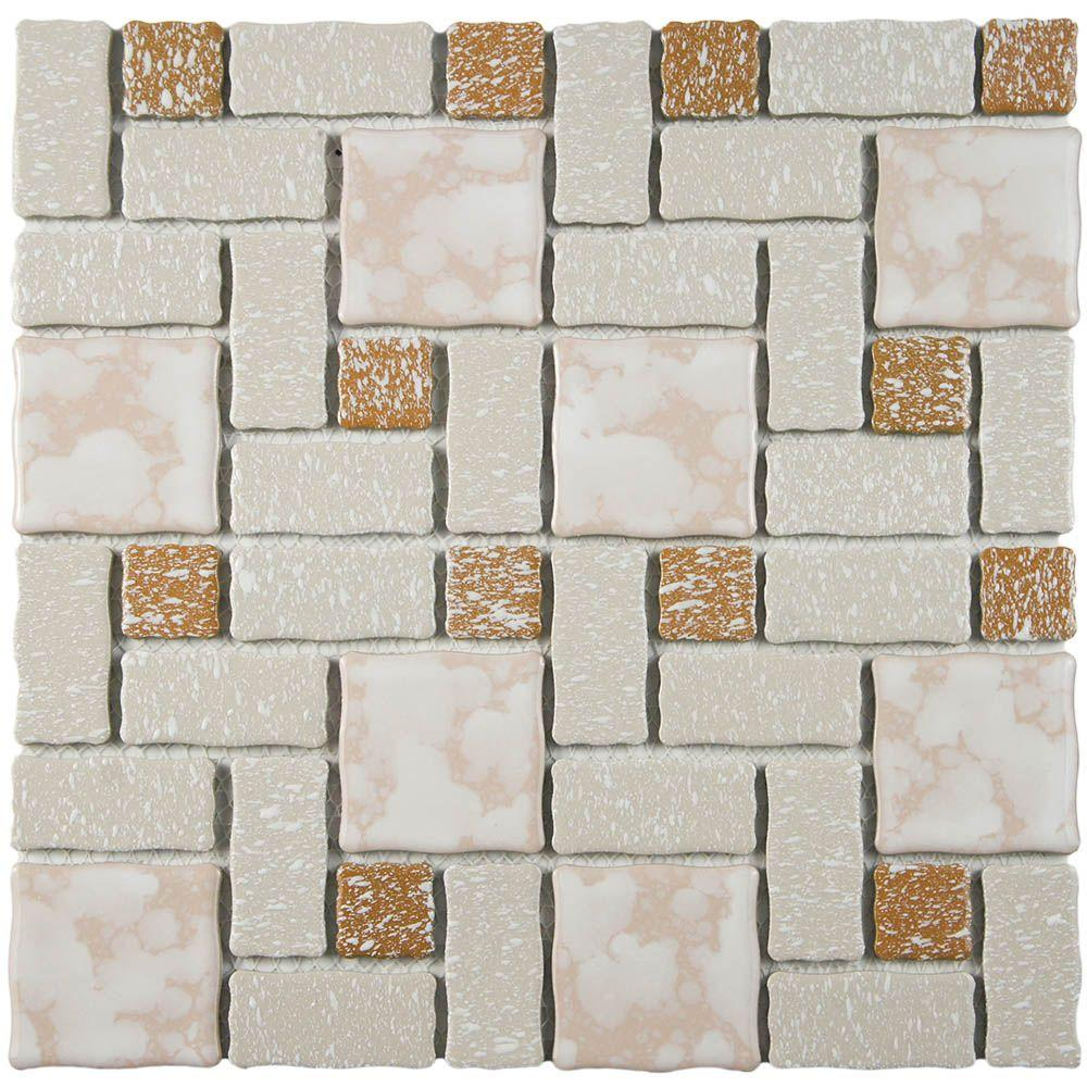 Merola Tile Academy Beige 11-3/4 in. x 11-3/4 in. x 5 mm Porcelain Mosaic Tile