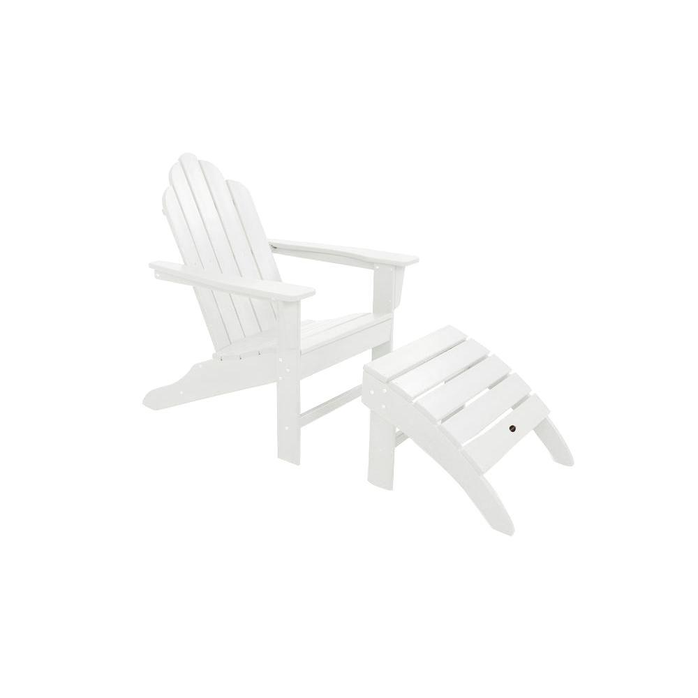 POLYWOOD Long Island White Plastic Adirondack 2 Piece Patio Seating Set