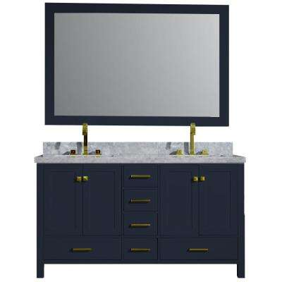 Cambridge 61 in. W x 22 in. D Vanity in Midnight Blue with Carrara Marble Top in White with White Basin and Mirror