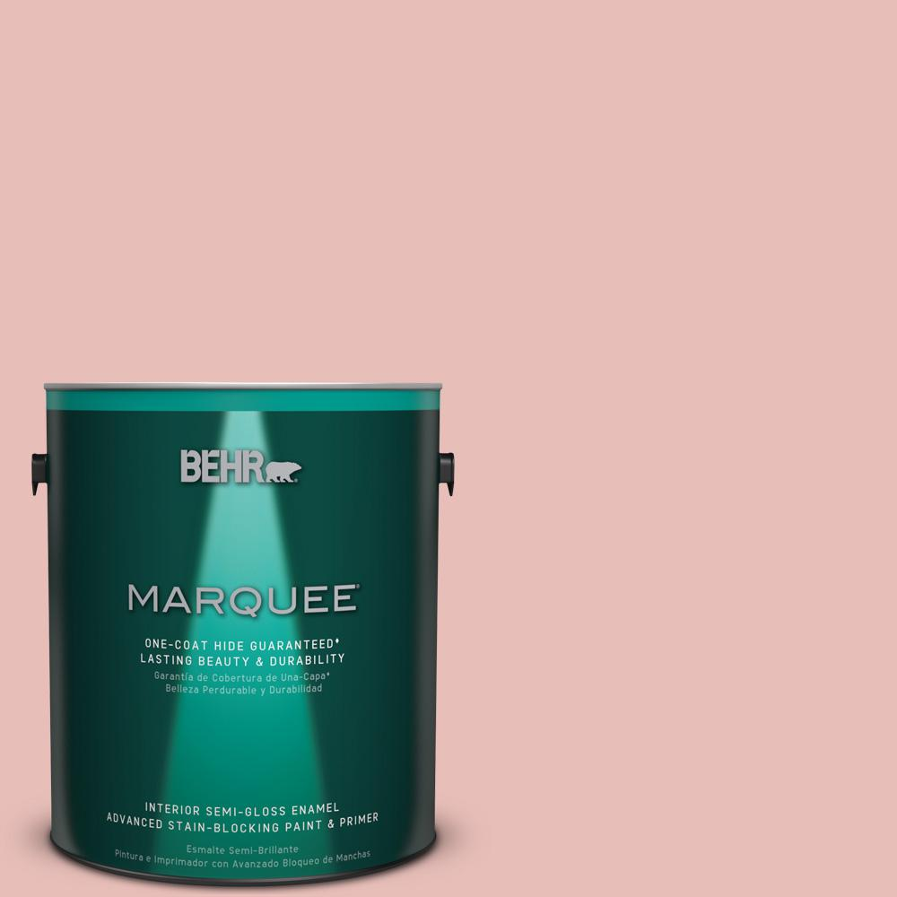 1 gal. #T18-01 Positively Pink Semi-Gloss Enamel Interior Paint