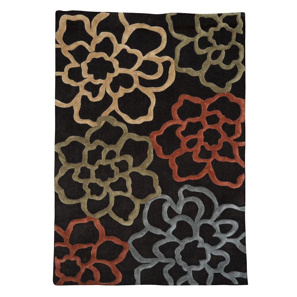 Linon home decor trio collection chocolate and pumpkin 5 ft x 7 ft indoor area rug rug tad1257 - Rugs and home decor decor ...