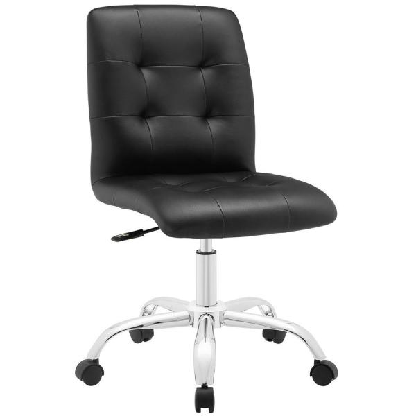MODWAY Prim Armless Mid Back Office Chair in Black EEI-1533-BLK