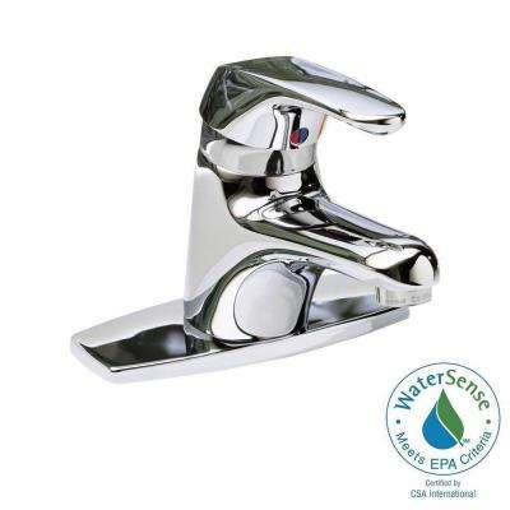Seva 4 in. Centerset Single Handle Bathroom Faucet in Chrome Less Pop-Up Drain