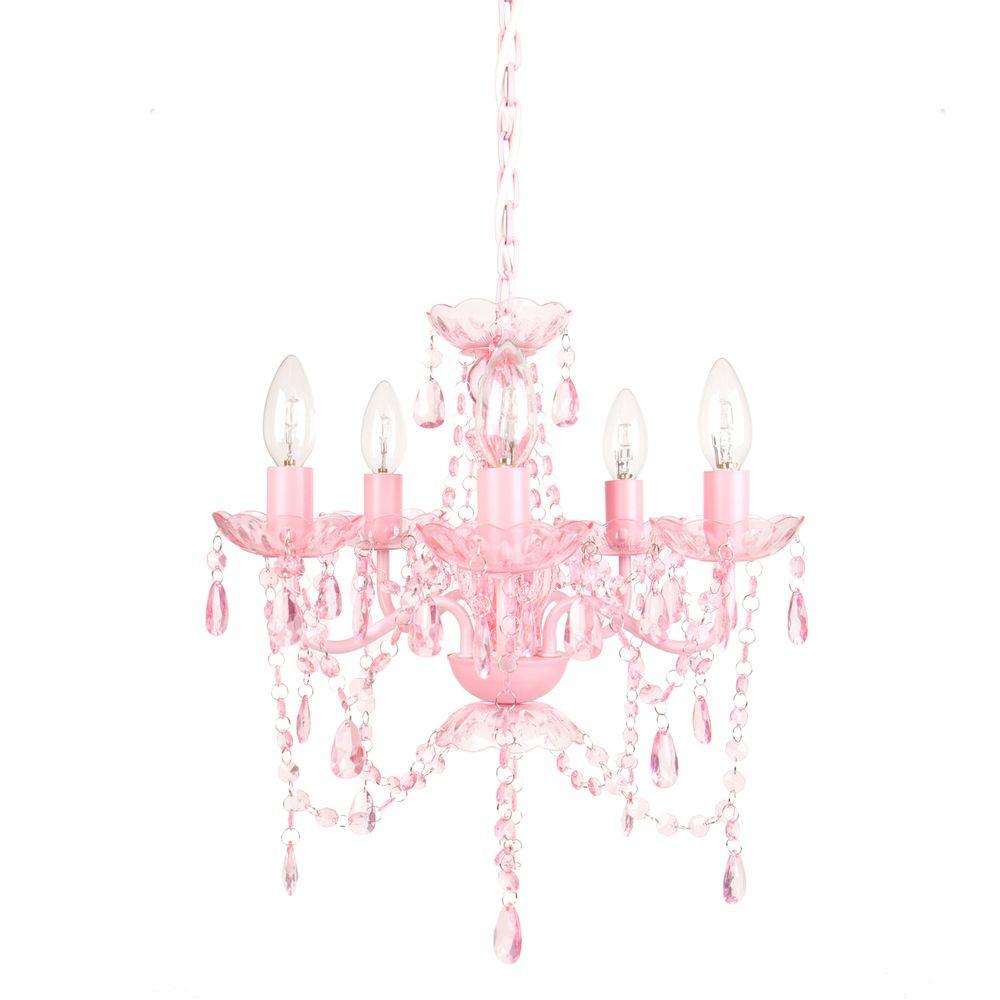 5 Light Pink Shire Chandelier