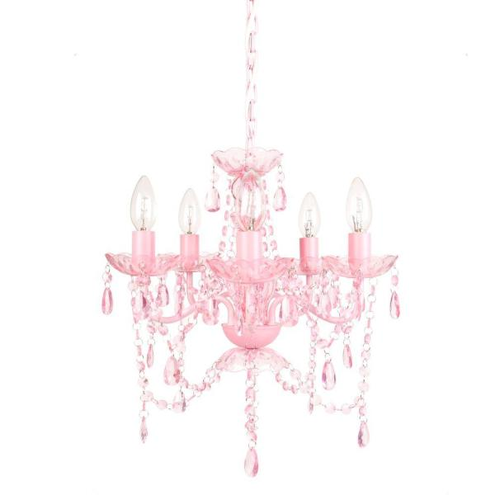 5-Light Pink Sapphire Chandelier
