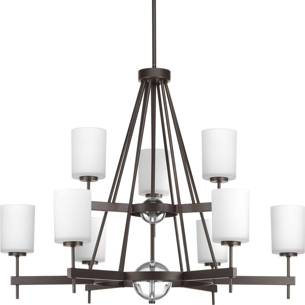 Compass Collection 9-Light Antique Bronze Chandelier with Shade